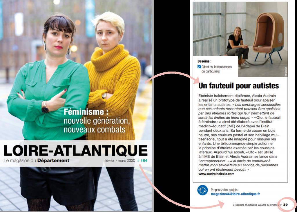 Magazine département Loire-atlantique Article sur le fauteuil à étreindre OTO d'Alexia Audrain pour les personnes autistes.